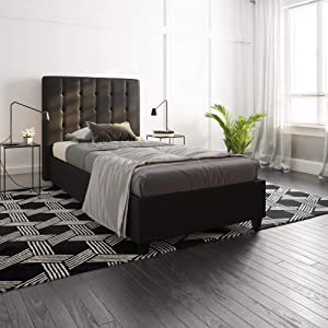 DHP Emily Upholstered Faux Leather Platform Bed with Wooden Slat Support, Tufted Headboard, Twin Size - Black