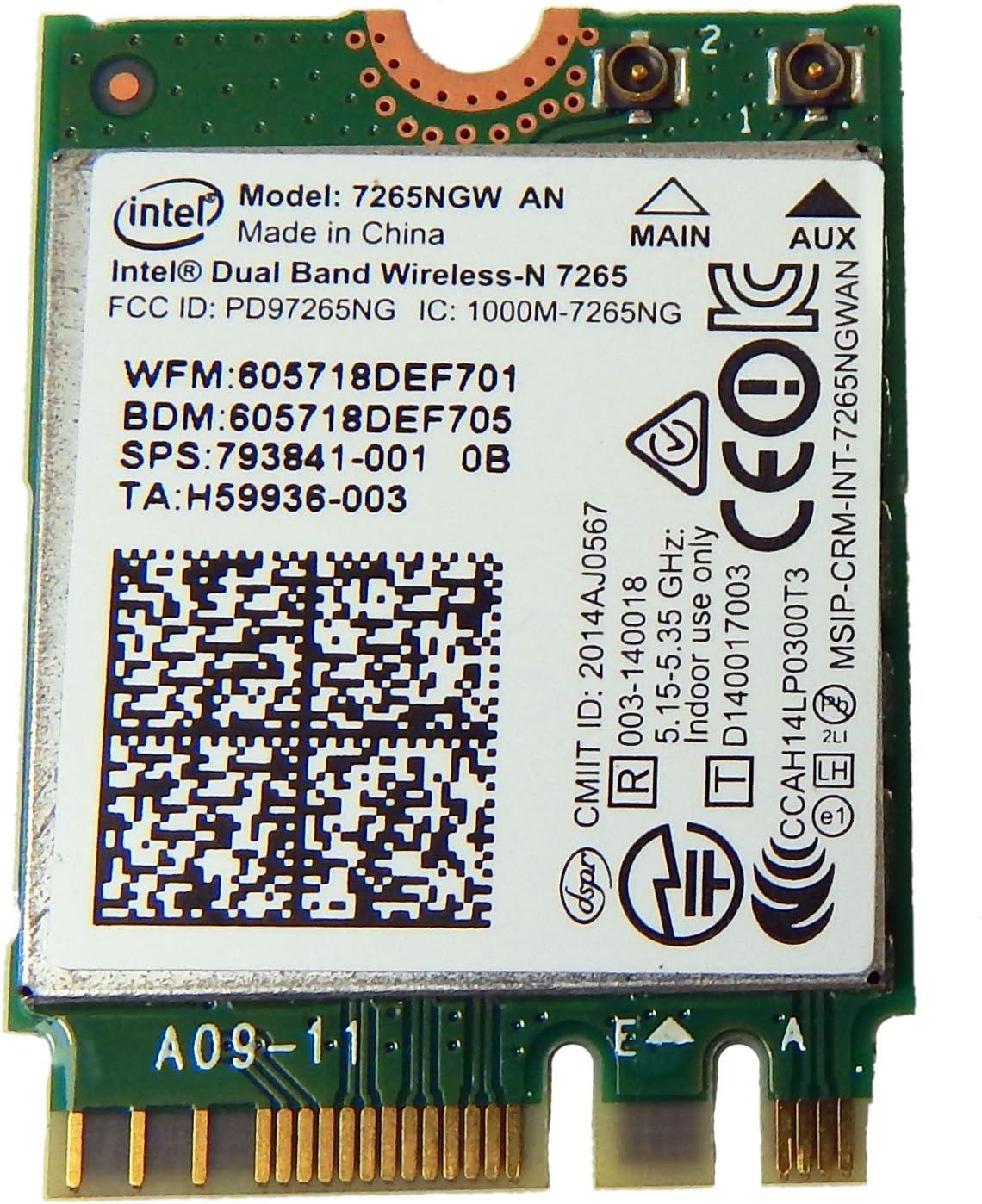 Intel 7265NGW an WLAN M.2 2x2 WiFi BT4 Mod 793841-001 802.11ac WiFi Bluetooth