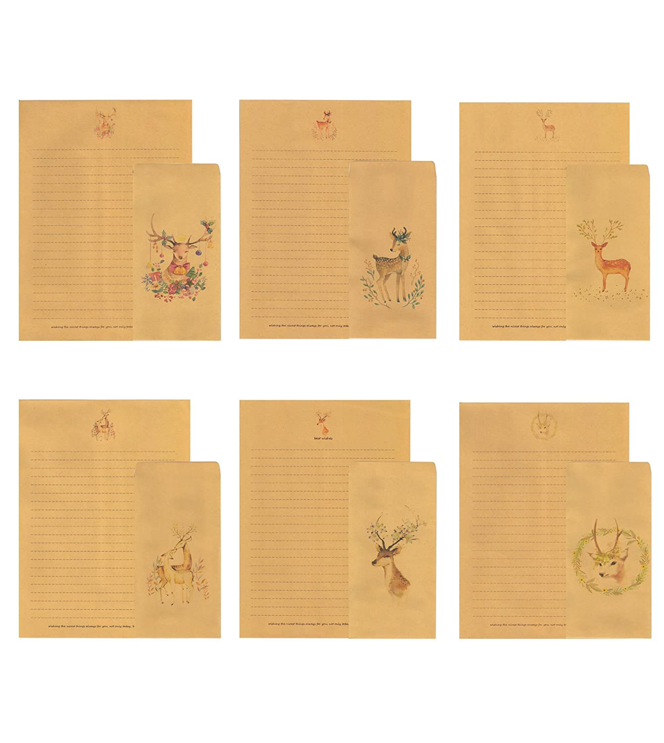 YouNee 30 Writing Stationery Paper with 30 Envelope, Vintage Deer Letter Writing Paper Sets, 6 Pattern