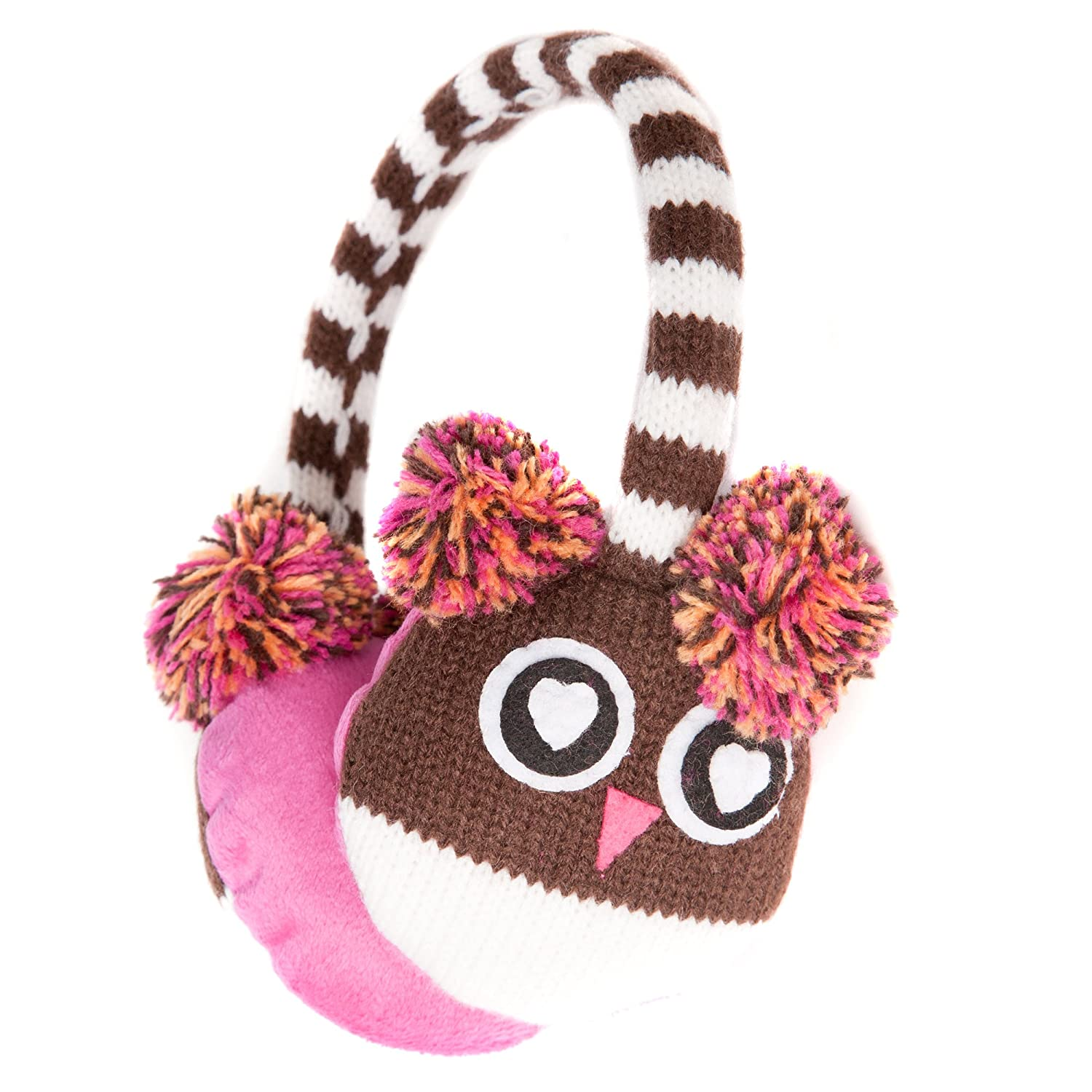 Cute Brown Owl Style Winter Thermal Fashion Earmuffs with Pompom Ears - Onesize fits most