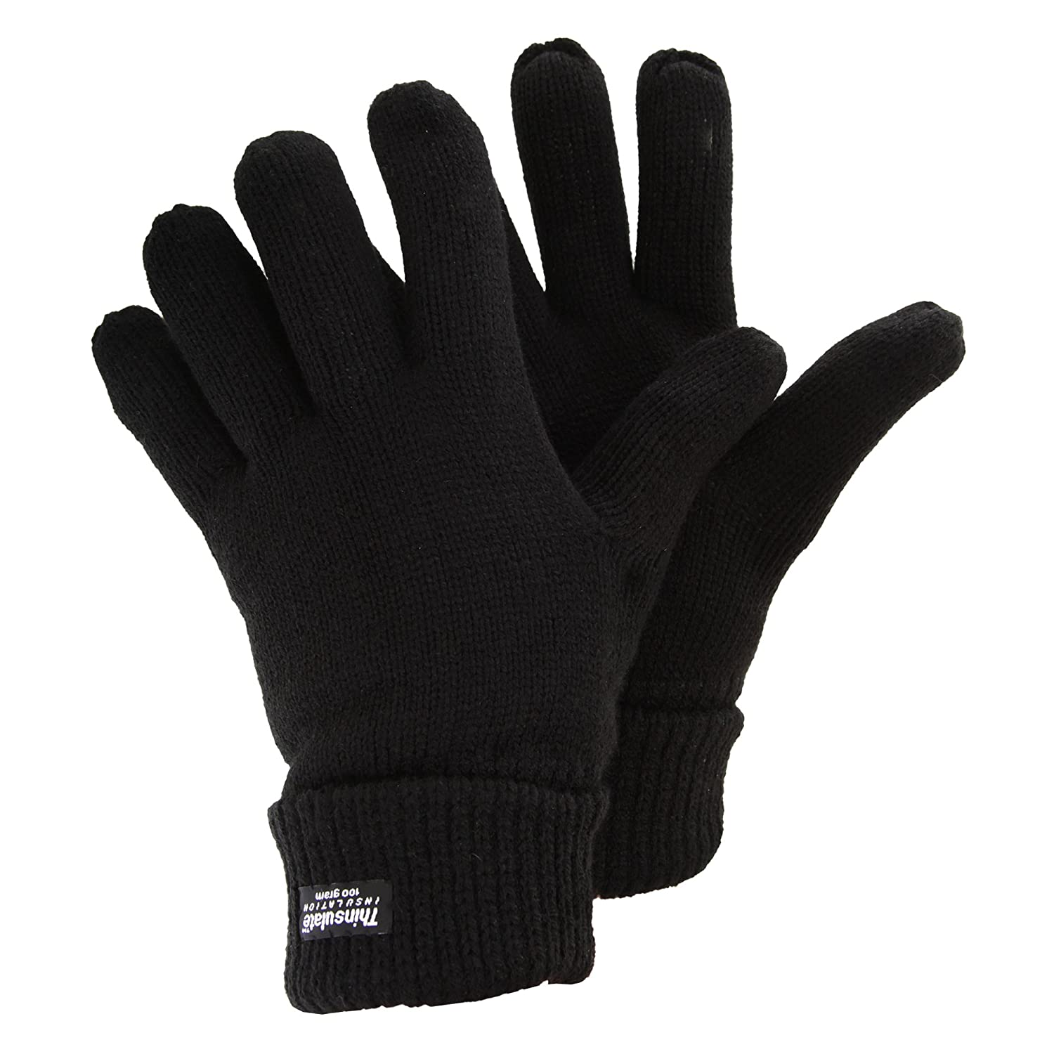 Mens Premium Windproof Knitted Thinsulate Thermal Gloves (3.3 Tog) (One Size) (Black) Universal Textiles UTGL303_1