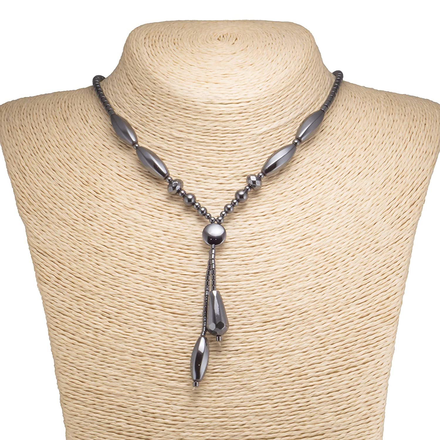 BlueRica Double Strand Drop Hematite Necklace with Designer Beads