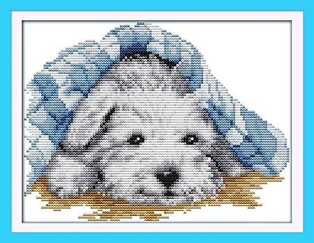 Blanco captaincrafts caliente nueva Kits Needlecrafts de punto de cruz patrones de punto de cruz Kit/ Blanco /perros amor Eterno