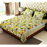 Home Candy Multi Polka Cotton Double Bed Sheet with 2 Pillow Covers
