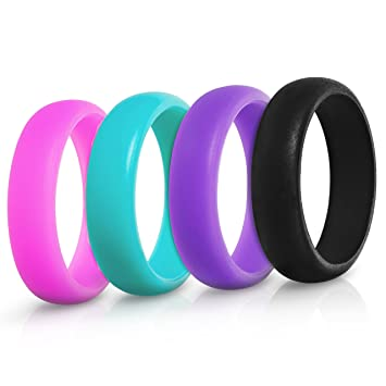 saco band silicone wedding ring 4 pack black teal purple pink 45 - Sports Wedding Rings