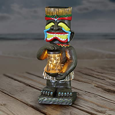 """Exhart Laughing Island Totem Garden Imitation Wood Resin with 6 Solar LED Firefly Lights Glass Jar - Tropical Totem Garden Statue Holding a Jar of Fireflies - Colorful Totem Garden Decor, 4 x 11"""" : Garden & Outdoor"""