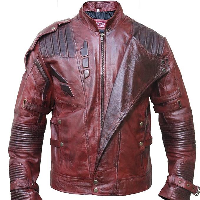 SkySeller-uk - Chaqueta - Biker - para hombre rojo rojo (Maroon) X