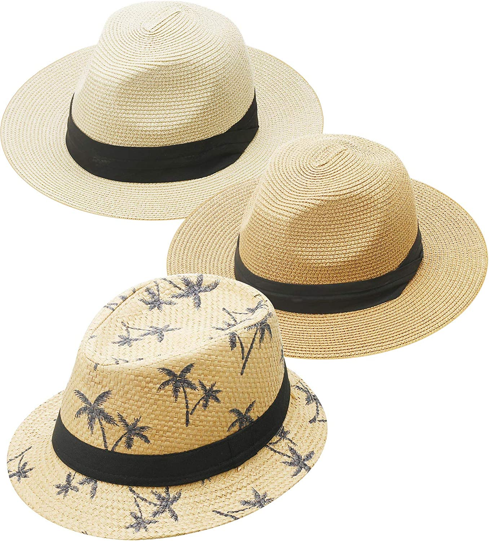 3 Pieces Panama Straw Hat Wide Brim Straw Hat Foldable Travel Cap Unisex Beach Sun Hat for Men Women