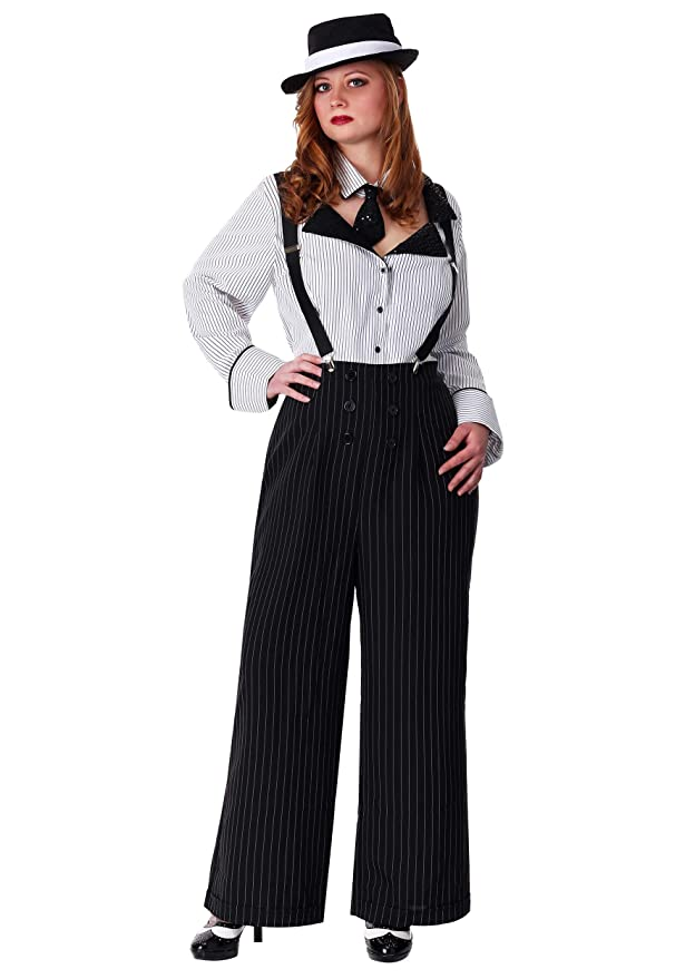 1930s Costumes- Bride of Frankenstein, Betty Boop, Olive Oyl, Bonnie & Clyde Plus Size Pinstripe Gangster Costume $49.99 AT vintagedancer.com