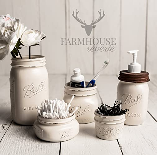 Antique White Rustic Mason Jar Bathroom Set   White Bathroom Storage Set    Farmhouse Bathroom Decor. Amazon com  Antique White Rustic Mason Jar Bathroom Set   White