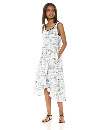 8679387c1a2 Jones New York Women s Slvlss Printed Linen Hi Lo Hem Dress  Amazon.co.uk   Clothing