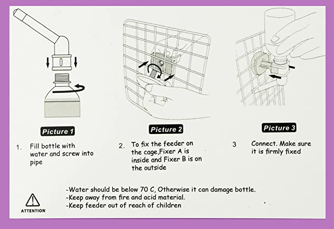 Poodle - Dispensador de botella de agua para jaula o caseta - Fuente de hidratación de gravedad con boquilla para perros, gatos, hámsters, conejos y otros ...