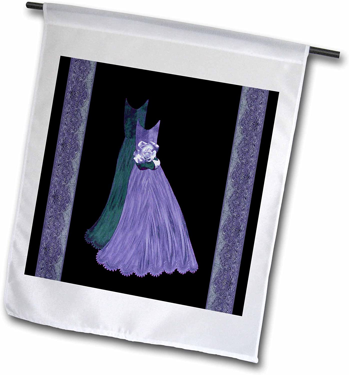 3dRose Blue & Deep Teal Green Gowns with Coordinating Damask Ribbons - Garden Flag, 12 by 18