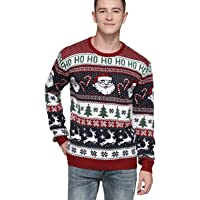 Men's Christmas Rudolph Reindeer Santa Holiday Knitted Sweater Cardigan Ugly Pullover