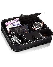 Fineway – Elegante bandeja de 6 compartimentos de piel para valet para hombre – ideal para