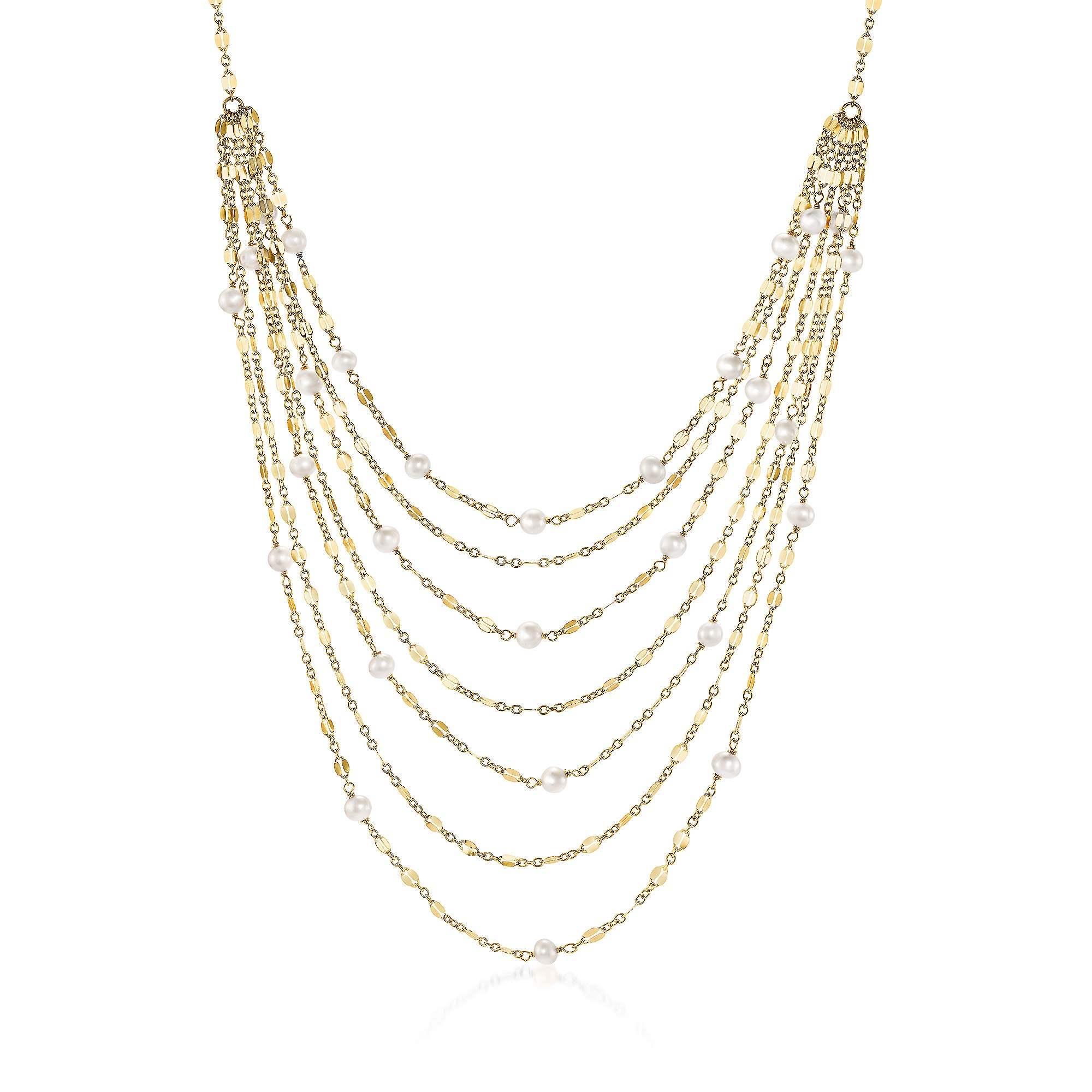 Ross-Simons 18kt Yellow Gold Over Sterling Waterfall Necklace With Cultured Pearls by Ross-Simons (Image #1)