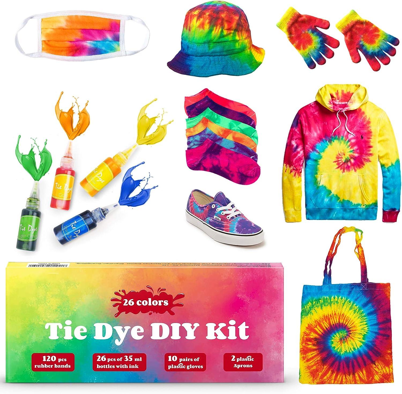 Kit Tie-Dye 18 Piezas de Color Kit Tie-Dye con Guantes de Gomas Camisa Permanente Tie Dye Color de Tela para proyectos de Bricolaje y Actividades de Fiesta