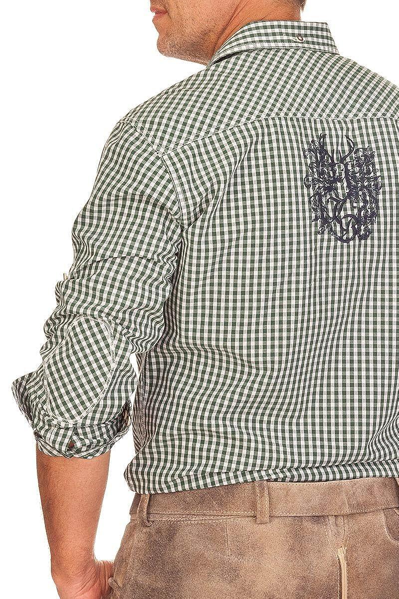Gr/ün Trachtenhemd mit Langem Arm Blau Oliver