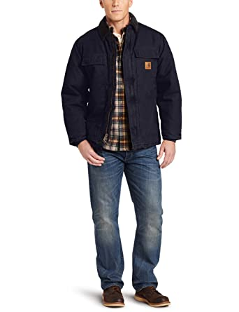 Carhartt Mens Big & Tall Arctic-Quilt Lined Sandstone Duck Traditional Coat C26,Midnight,XXXX-Large