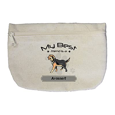 Canvas Zipper Pouch Makeup Bag My Best Friend Is Armant Dog Style In Print