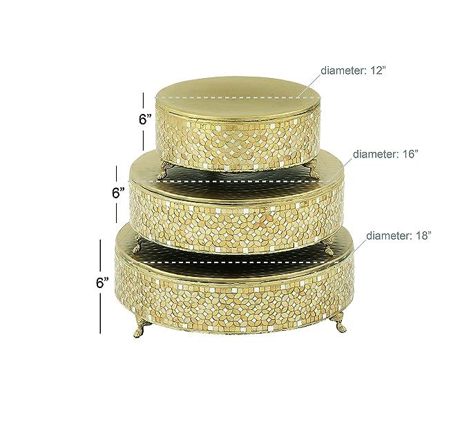 Amazon.com - Deco 79 23980 Metal Mosaic Cake Stand (Set of 3), 12 ...
