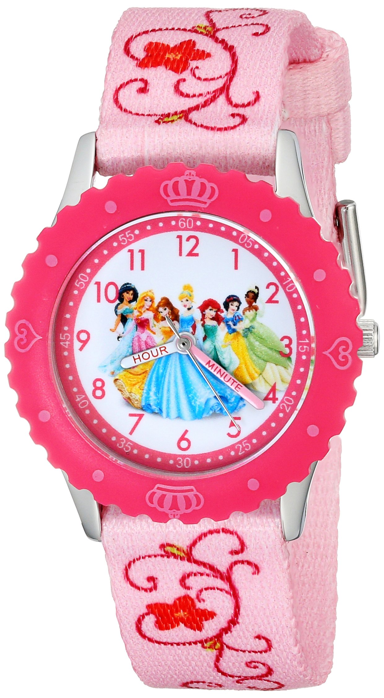 Disney Kids' W001798 Princess Stainless Steel Time Teacher Watch, Printed Pink Band by Disney