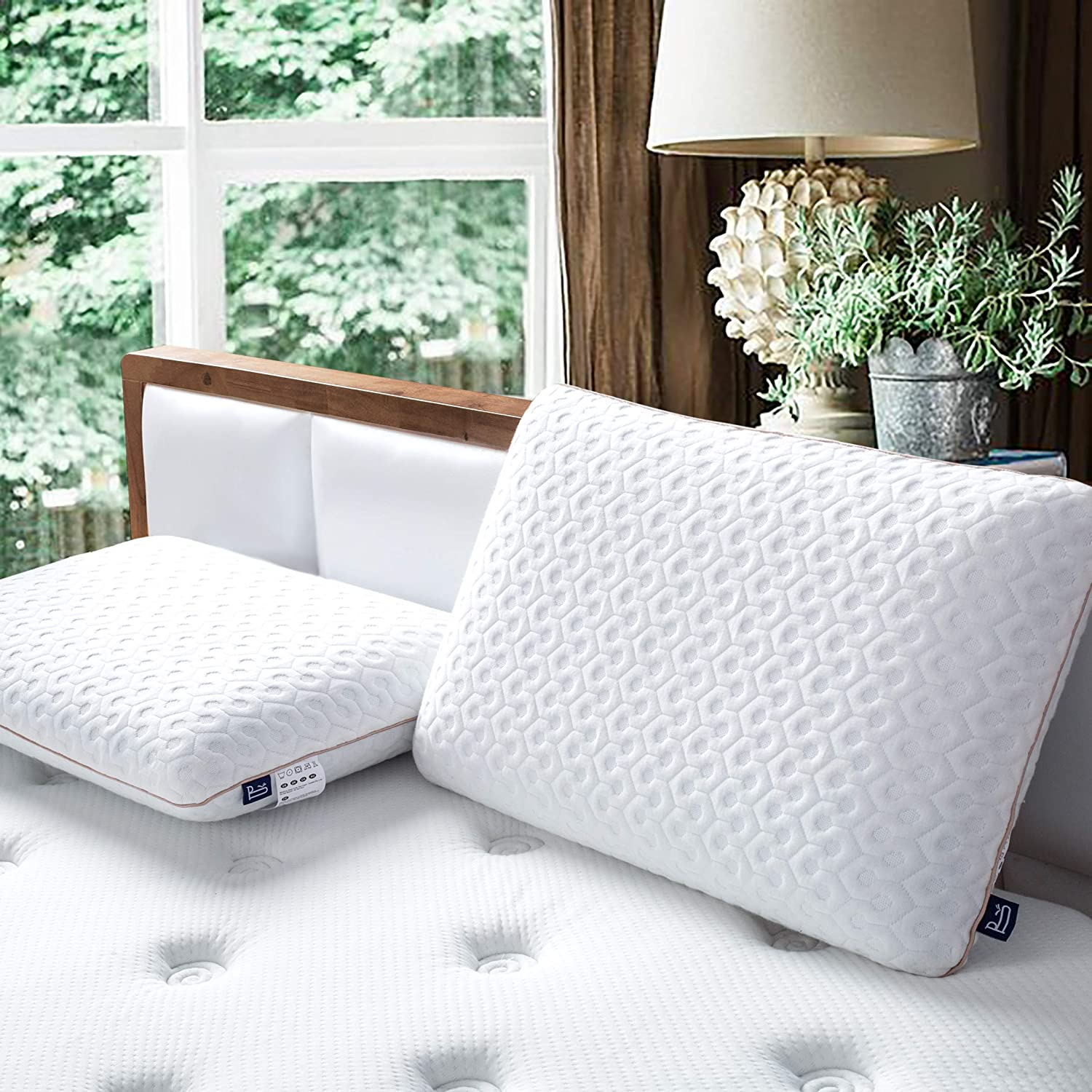 BedStory Memory Foam Pillow Medium Firm, Gel Foam Pillows for Sleeping Standard Size, Orthopedic Bed Pillows for Neck Pain Relief - Stomach Back or Side Sleepers, Ventilated Holes & CertiPUR-US