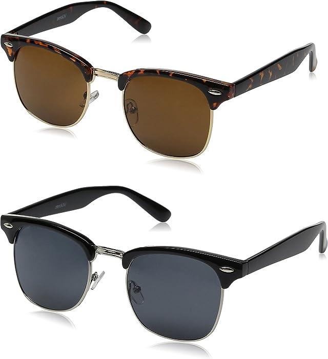 67930ca9da4 Amazon.com  zeroUV Half Frame Semi-Rimless Horn Rimmed Sunglasses (2 ...