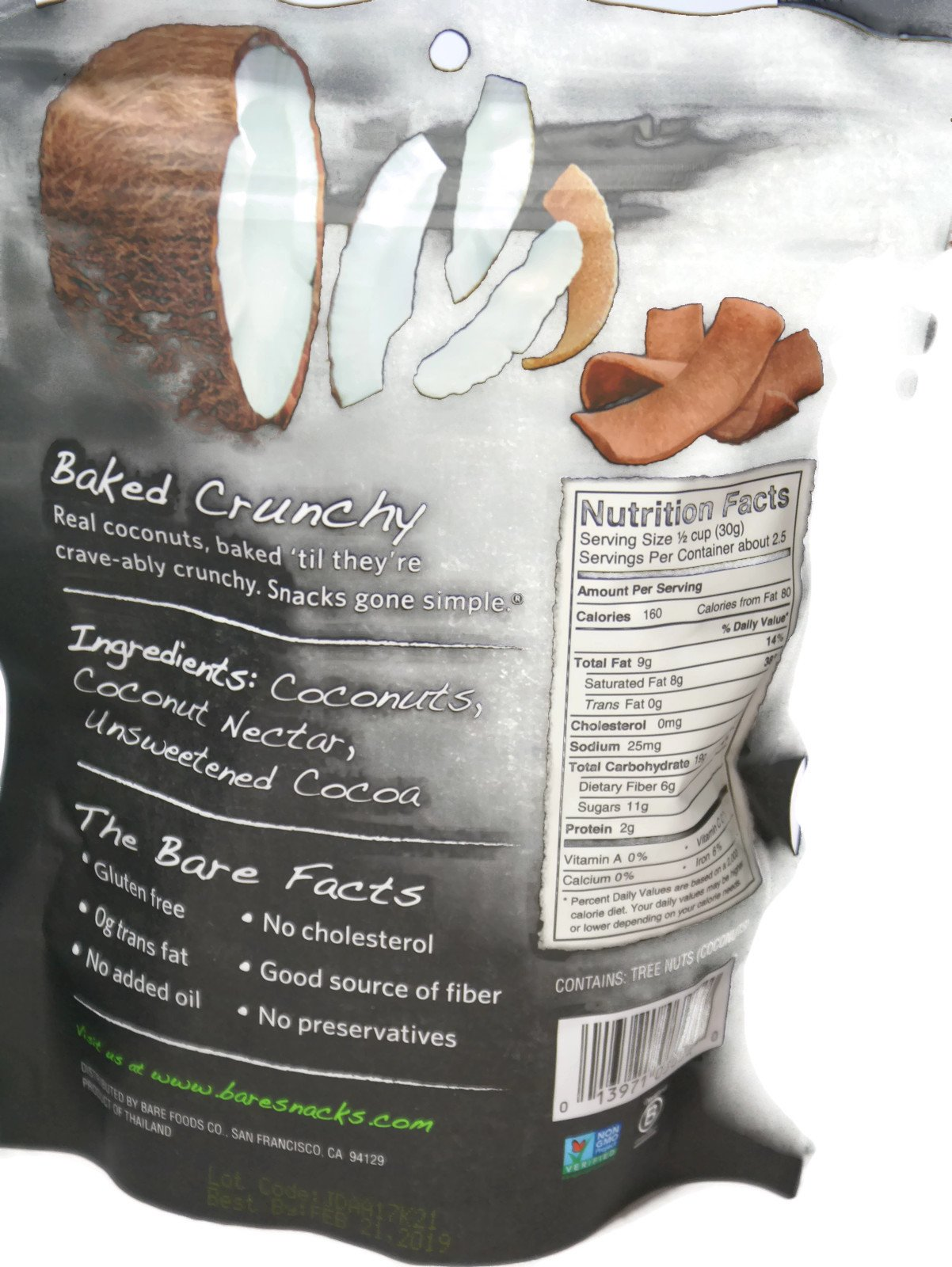 Variety Pack - Bare Fruit Chips - Toasted Coconut (3.3 oz), Chocolate Coconut (2.8 oz), Simply Banana (2.7 oz), Cinnamon Banana (2.7 oz) by General (Image #3)
