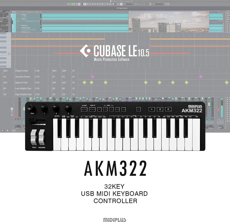 AKM322 32-Key MIDI Keyboard Controller with Cubase LE: Amazon ...