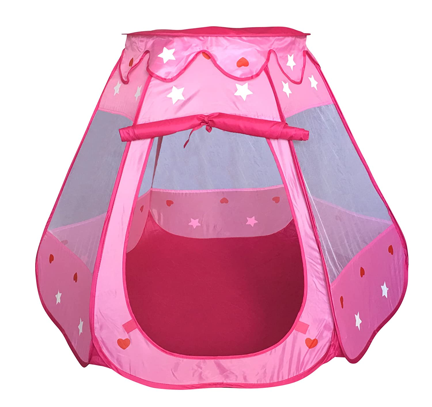 SueSport Girls Pink Princess Play Tent Indoor and Outdoor, Children Play Tent for Girls