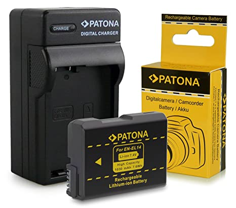 Cargador + Batería EN-EL14 para Nikon D3100 | D3200 | D5100 | D5200 | P7000 | P7100 | P7700