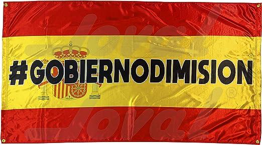 JOVAL -Bandera Grande de España en protesta (150 x 90cm) - Satén. Suave con Colores Vivos y con Ojales de Metal para Colgar en Pared o balcón. (Tela): Amazon.es: Jardín