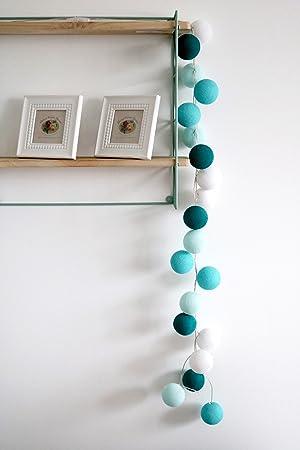 20er LED Lichterkette mit handgearbeiteten Baumwollkugeln, ideal als  Schlummerlicht fürs Kinderzimmer Nachtlicht (USB-Stecker inkl. Adapter))