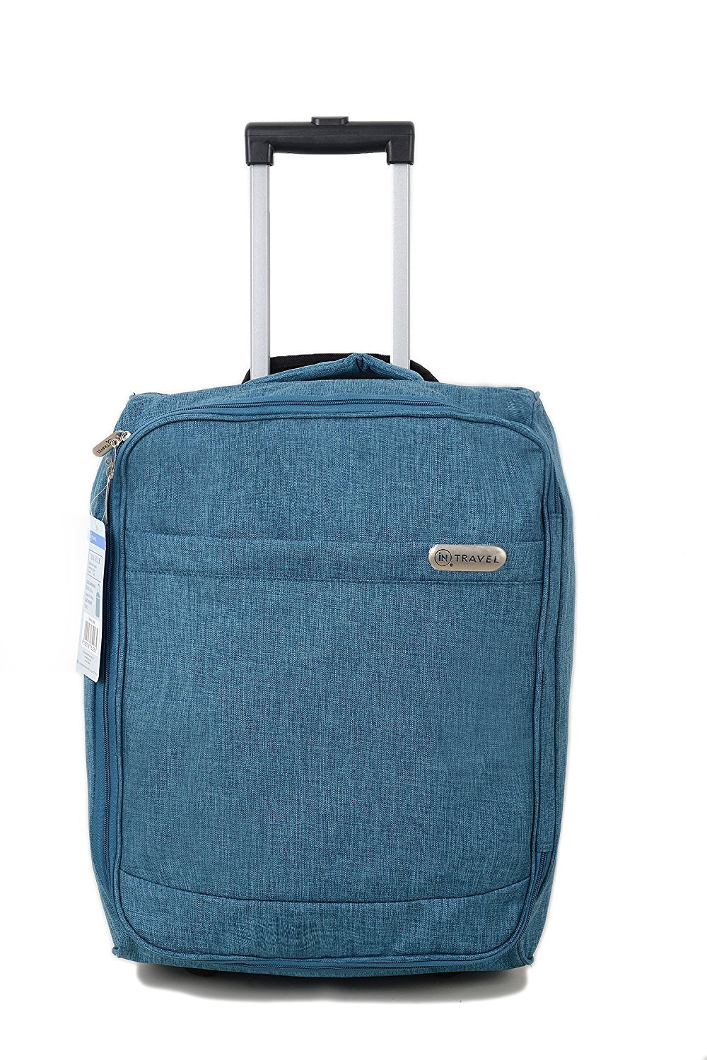 Cabin Bag Trolley with Wheels iN TRAVEL® Hand Luggage Flight Bags Suit Case for Easyjet, British Airways, Virgin, Jet 2 and Many others Airlines or Travel (Teal) INTRAVEL-SLBLUE