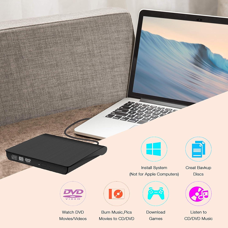 Grabadora de DVD/CD Externa USB 3.0 Portátil Diseño Ultra Delgado, Lector de DVD/CD con Capacidad de Corrección de Errores, Compatible con WIN98/XP/WIN7/WIN8/WIN10/XP/VISTA/ Mac OS 8.6 o Superior: Amazon.es: Electrónica