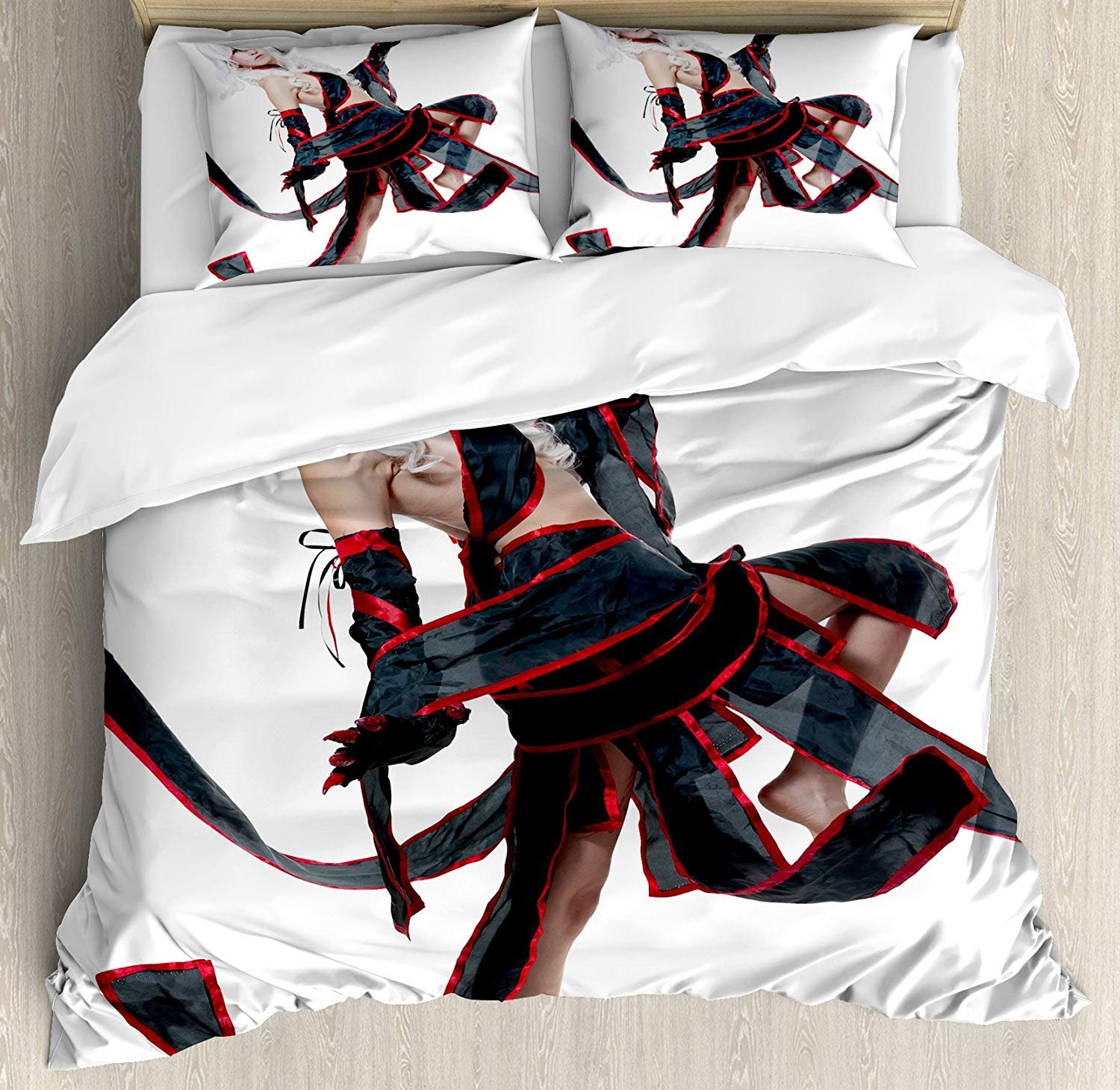 Twin XL Extra Long Bedding Set, Anime Duvet Cover Set, Posing Warrior Girl in Manga Style Japanese Culture Themed Illustration Art, Cosy House Collection 4 Piece Bedding Sets