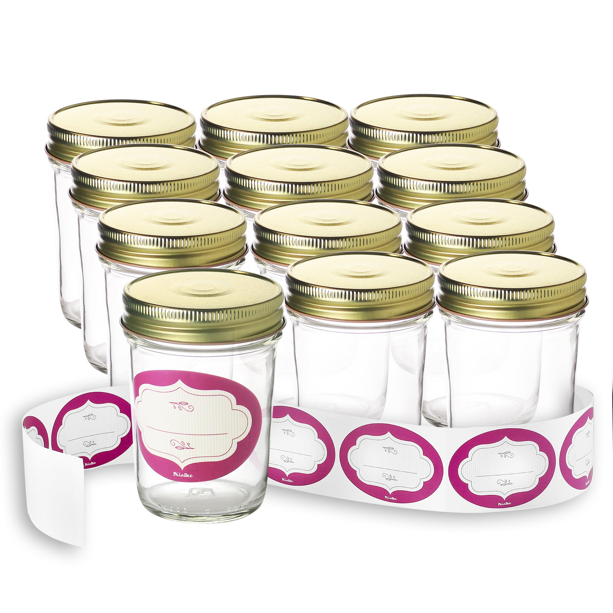 Case of 12-8 Ounce Glass Mason Jars with Gold Lids and Labels Perfect for Home Canning, Pickling, Gifts, Presentation, Baby Showers, Baby Food Storage, Wedding Favors, Juicing, Housewarming, Pantry