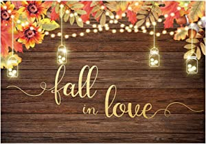 Funnytree Fall in Love Party Backdrop Photography Autumn Rustic Wooden Floor Background Glitter Lights Maple Leaves Bridal Shower Wedding Anniversary Decorations Banner Photo Booth Props 7x5ft