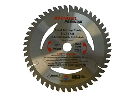 Avenger AV-65948 Steel Cutting Saw Blade, 6-1/2-inch by 48 tooth, 5/8-inch  arbor, C-6, TCG