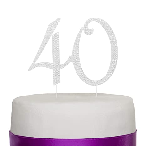 40 Cake Topper For 40th Birthday Or Anniversary Gold Number Party Supplies And Decoration Ideas Silver
