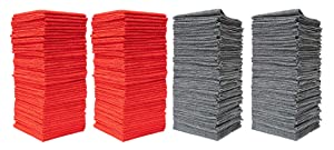 """Pull N Wipe 12"""" x 12"""" 79135 Microfiber (Pack of 100) Red/Gray,12""""x12"""". Shop Towel Cleaning Cloths Ideal for Auto, Home. Includes 2 Free Dispenser Boxes, 100 Pack"""