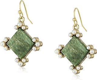 product image for 1928 Jewelry Gold-Tone Semi-Precious Aventurine Green Drop Earrings