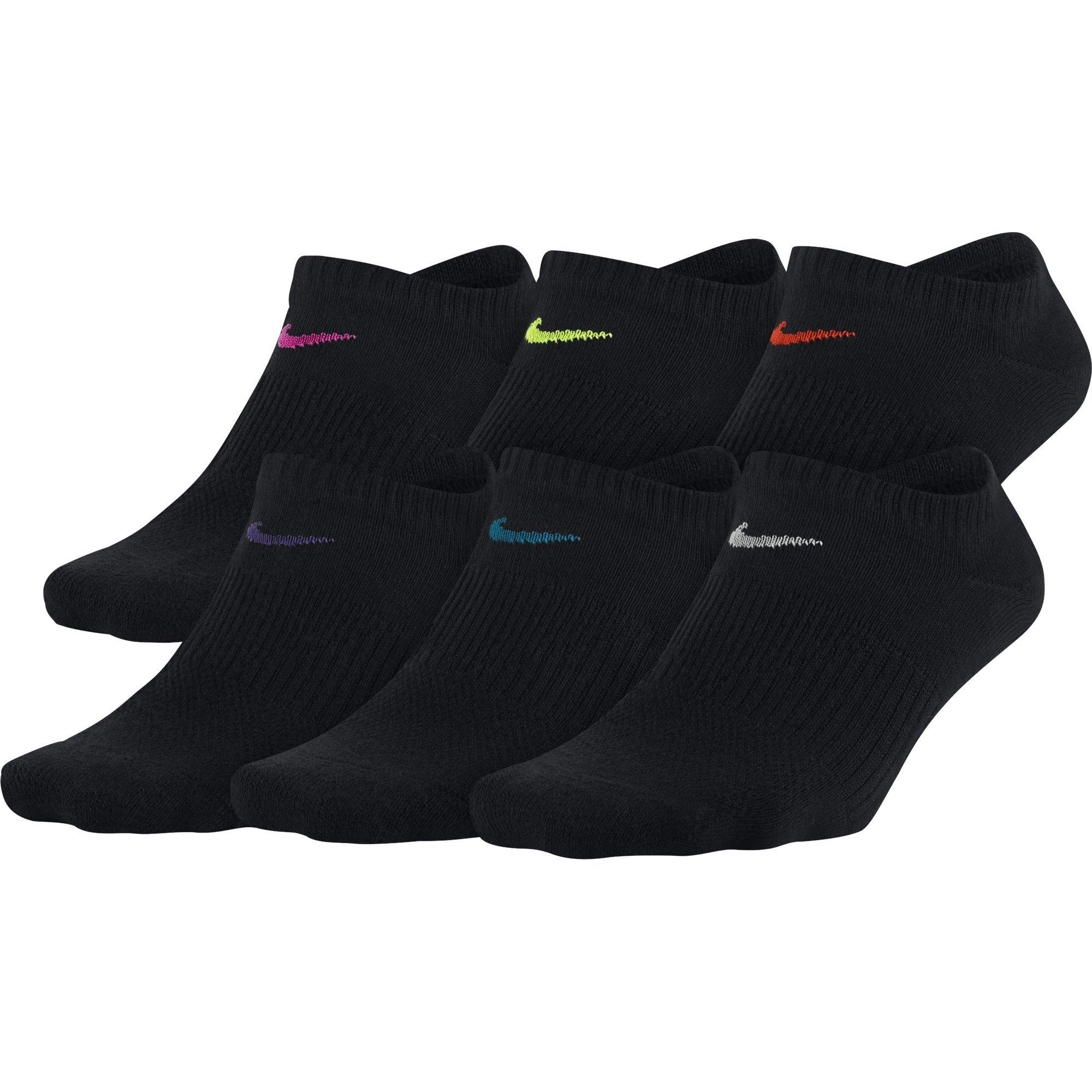 Nike Women's Everyday Lightweight No-Show Socks (6 Pair), Black/Multicolor, Small