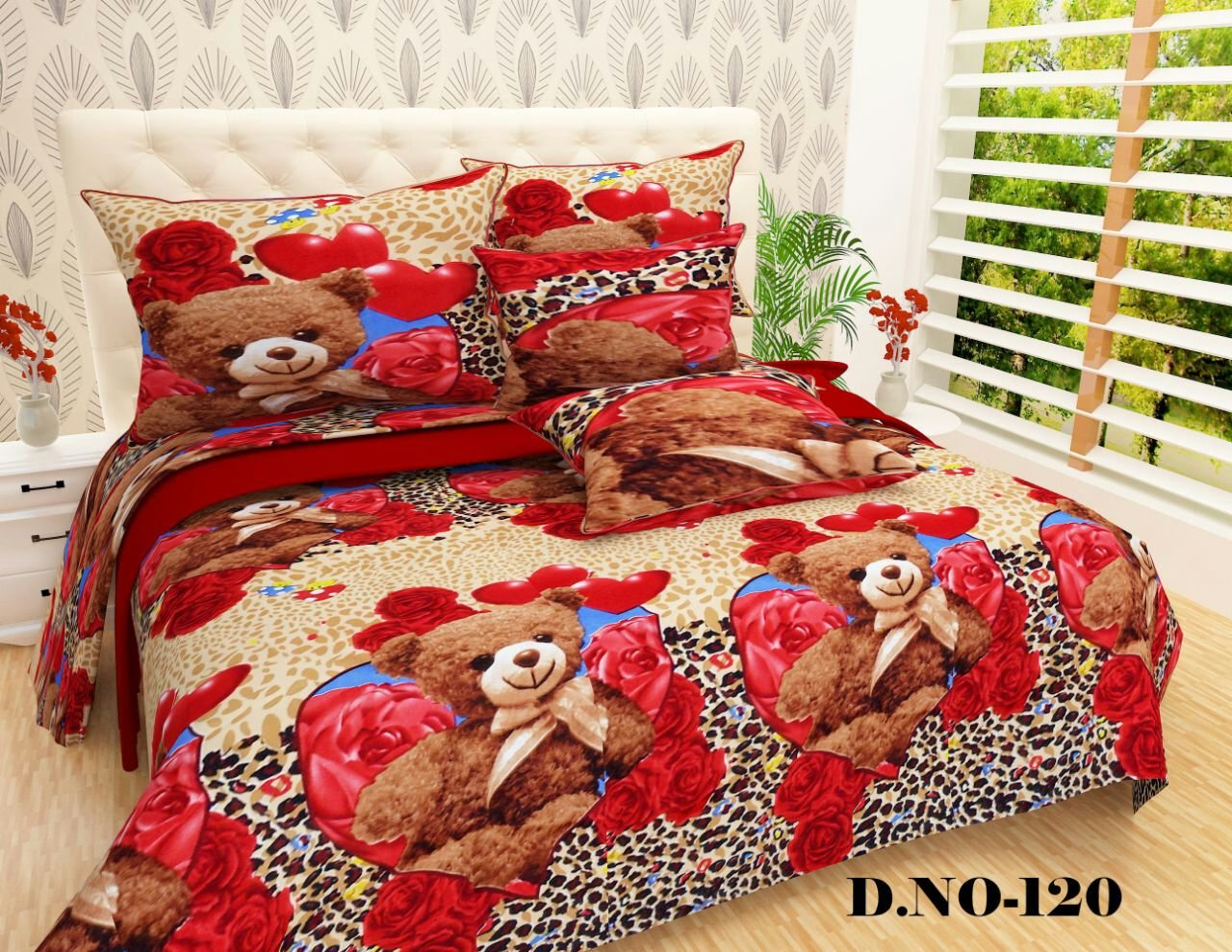P Home Decor Teddy Bear Printed Cotton Double Bed Bedsheet With 2 King Size Pillow Covers Set90x100 Inch 19x29 Multicolour Amazonin
