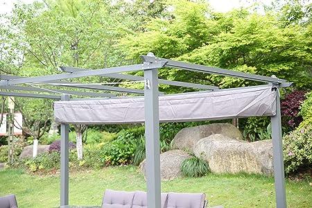 Angel Living® Pérgola de Aluminio con Techo Retráctil, Cenador con Tela de Poliéster Resistente al Agua y a UV, Uso para el Exterior (3X4m Gris): Amazon.es: Jardín