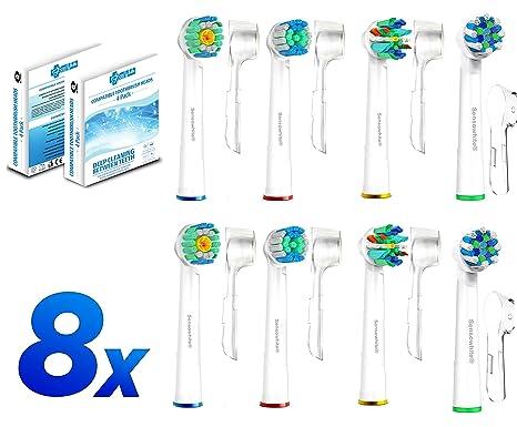 8 Pack cabezales de cepillo Oral B Paquete de la variedad de FlossAction, 3D,