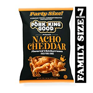 Pork King Good Nacho Cheddar Pork Rinds 7 OZ FAMILY SIZE (Chicharrones - Keto Snacks)
