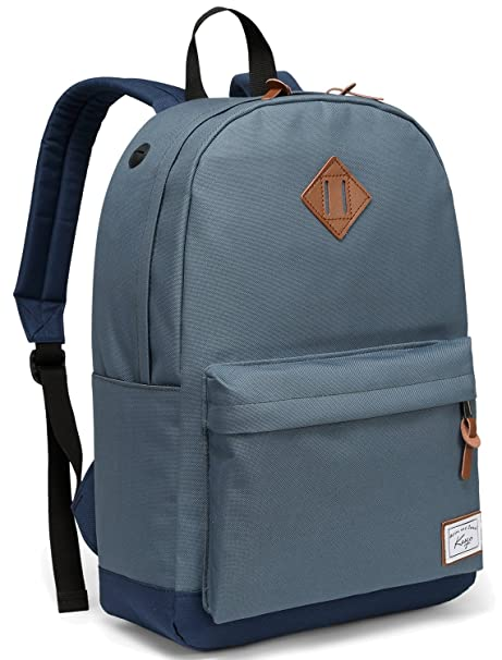 Amazon.com: School Backpack, Kasqo Water-Resistant Classic Unisex Backpack Fits 14 inch Laptop Casual Daypack for Teenagers Bookbag Blue: Clothing