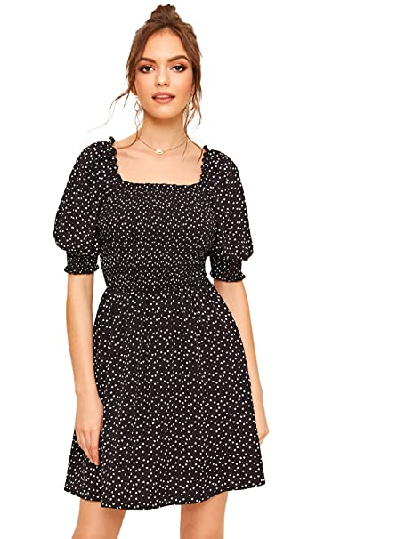 Romwe Women's Allover Print Square Neck Off Shoulder Shirred Dress by Romwe